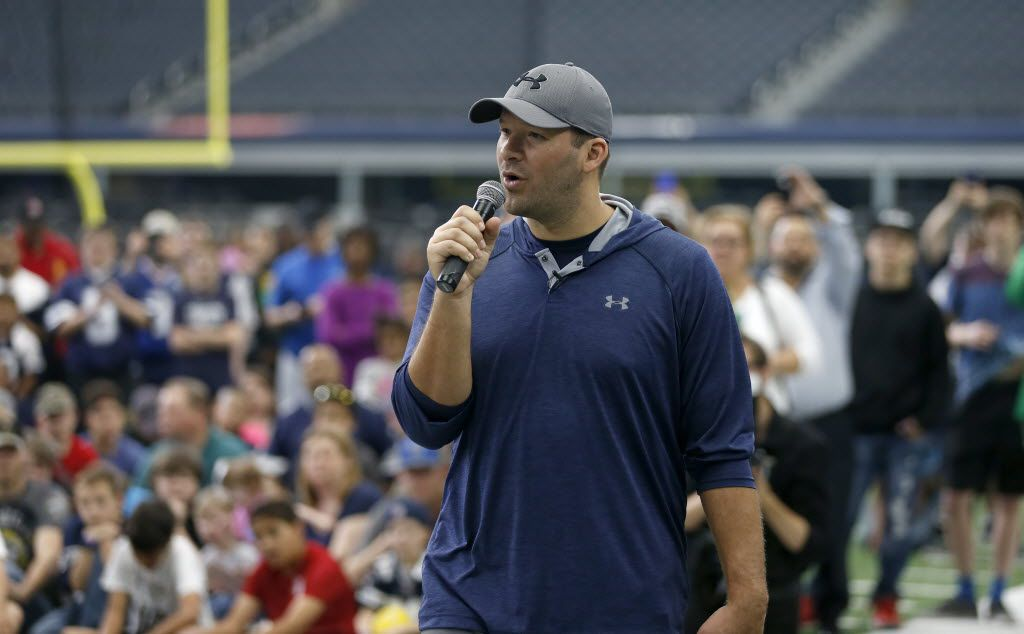 Cowboys quarterback Tony Romo speaks during the All Pro Dad promotional event at AT&T Stadium in Arlington, Texas, Saturday, April 16, 2016. (Jae S. Lee/The Dallas Morning News)