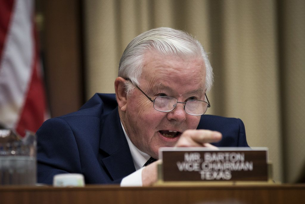 WASHINGTON, DC - OCTOBER 25: Committee vice chairman Rep. Joe Barton (R-TX) questions witnesses during a House Energy and Commerce Committee hearing concerning federal efforts to combat the opioid crisis, October 25, 2017 in Washington, DC. Lawmakers on the committee threatened to subpoena information from the Drug Enforcement Agency (DEA) regarding their delayed responses about drug distributors that poured in millions of pain pills into West Virginia. (Photo by Drew Angerer/Getty Images)