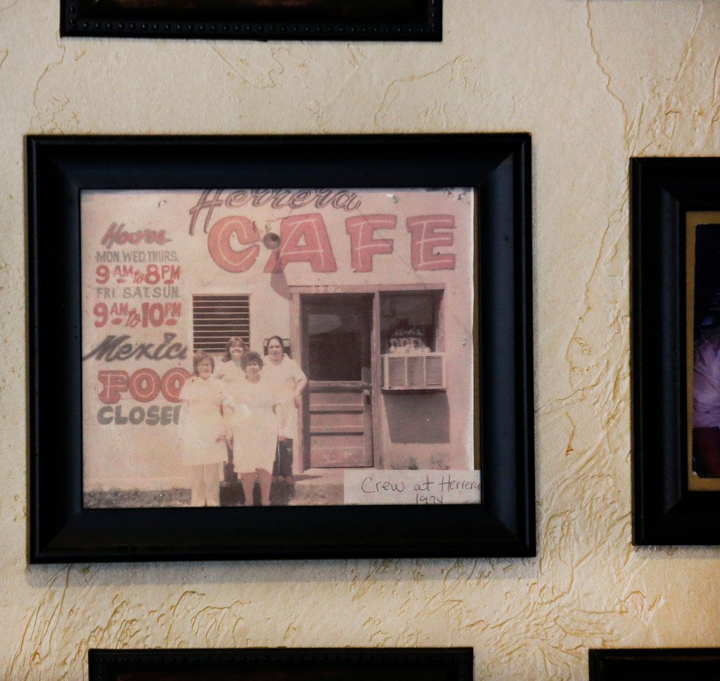 A vintage photograph hanging on the wall of Herrera's Cafe at 3311 Sylvan Avenue in Dallas, on September 19, 2018. (Louis DeLuca/The Dallas Morning News)