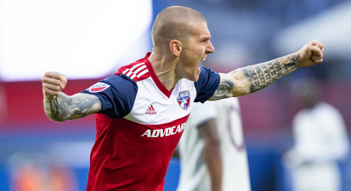 FRISCO, TX - MARCH 23: FC Dallas forward Zdenek Ondrasek (#13) celebrates a second half goal during the MLS game between FC Dallas and the Colorado Rapids on March 23, 2019 at Toyota Stadium in Frisco, Texas.  (Photo by Matthew Visinsky)