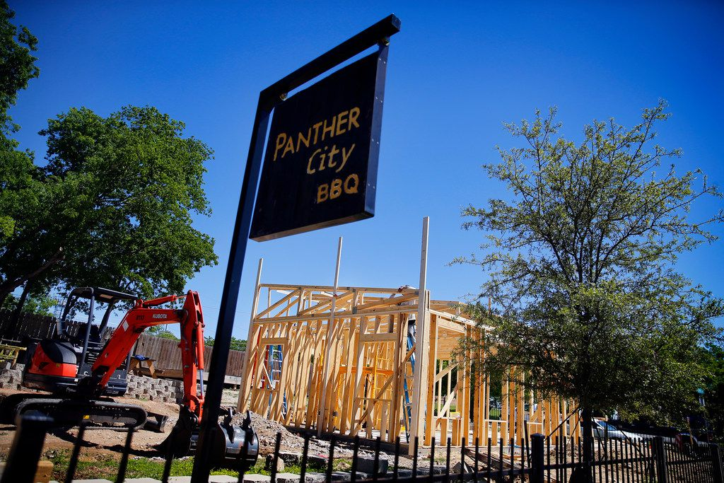 A permanent location for Panther City BBQ is being built in a vacant lot on the opposite side of The Republic Street Bar on Hattie St. in Fort Worth, Saturday, April 19, 2019. (Tom Fox/The Dallas Morning News)