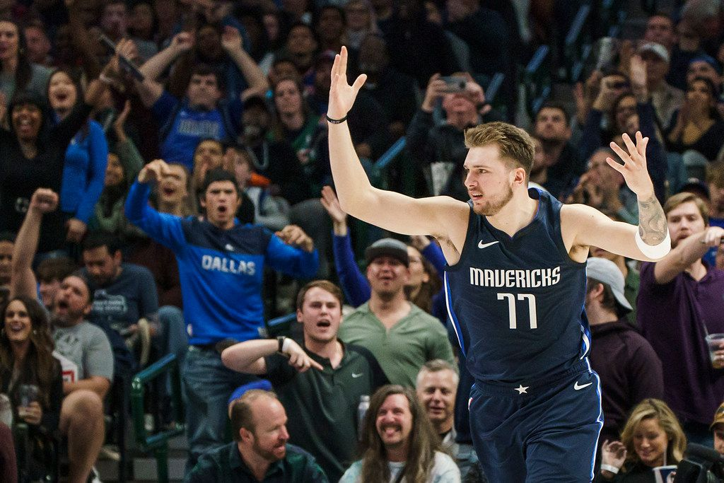 Dallas Mavericks guard Luka Doncic celebrates after making a shot during the second half of an NBA basketball game against the New York Knicks at American Airlines Center on Friday, Nov. 8, 2019, in Dallas. (Smiley N. Pool/The Dallas Morning News)