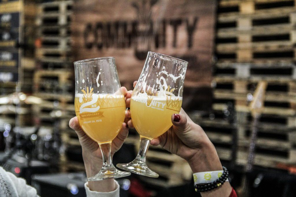 Party goers had 30 different craft beers to choose from at Community Beer Company's 2nd Anniversary bash on Jan 24, 2015.