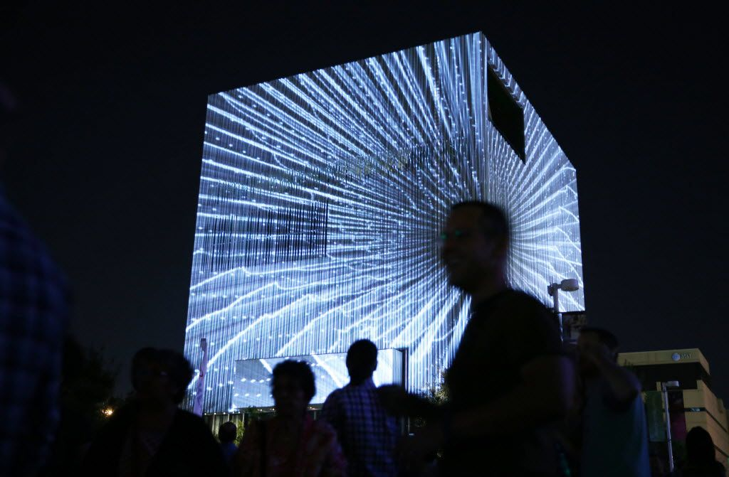 Exhibit by 3_Search on display on the Wyly Theatre during Aurora, an interactive art exhibition in the Arts District of Dallas, on Friday, October 16, 2015. (Vernon Bryant/The Dallas Morning News)