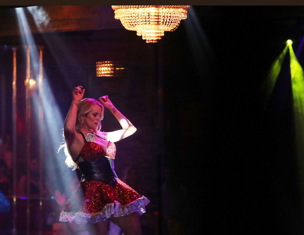 Stephanie Clifford, who uses the stage name Stormy Daniels, performs at the Solid Gold Fort Lauderdale strip club on March 9 in Pompano Beach, Fla.