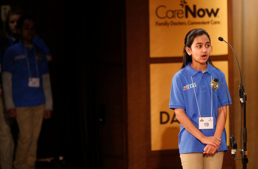 Naysa Modi competes during the 60th Annual Golden Chick Dallas Regional Spelling Bee presented by the Dallas Sports Commission at the George W. Bush Presidential Center in Dallas on Saturday, March 24, 2018. Competitors Naysa Modi and Abhijay Kodali won the competition and will advance to nationals.
