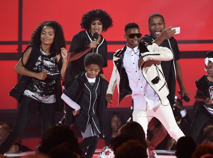 Silento, in the white suit, performed at the BET Awards at the Microsoft Theater on Sunday, June 28, 2015, in Los Angeles.