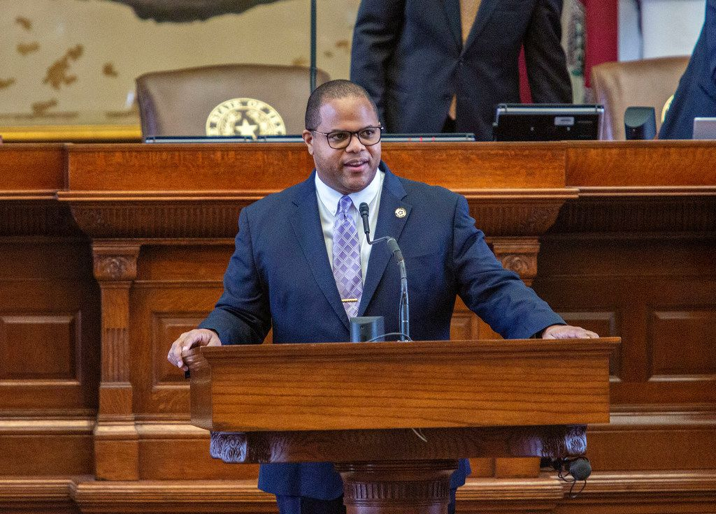 State Rep. Eric Johnson stands at the podium to recognize his staff on the House floor just before Sine Die at the State Capitol of Texas on May 27, 2019 in Austin, Texas.