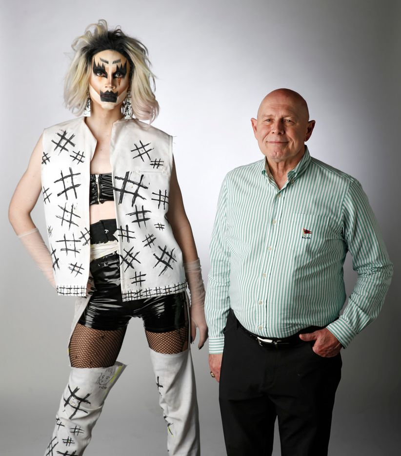 Kilo Kikii (left) and Gary Benecke pose for a portrait in the studio in Dallas on Wednesday, June 13, 2018. (Vernon Bryant/The Dallas Morning News)