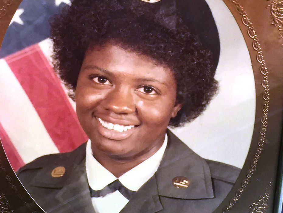 Antoinette Brown, the victim of dog mauling in South Dallas, shown in military uniform about 30 years ago.