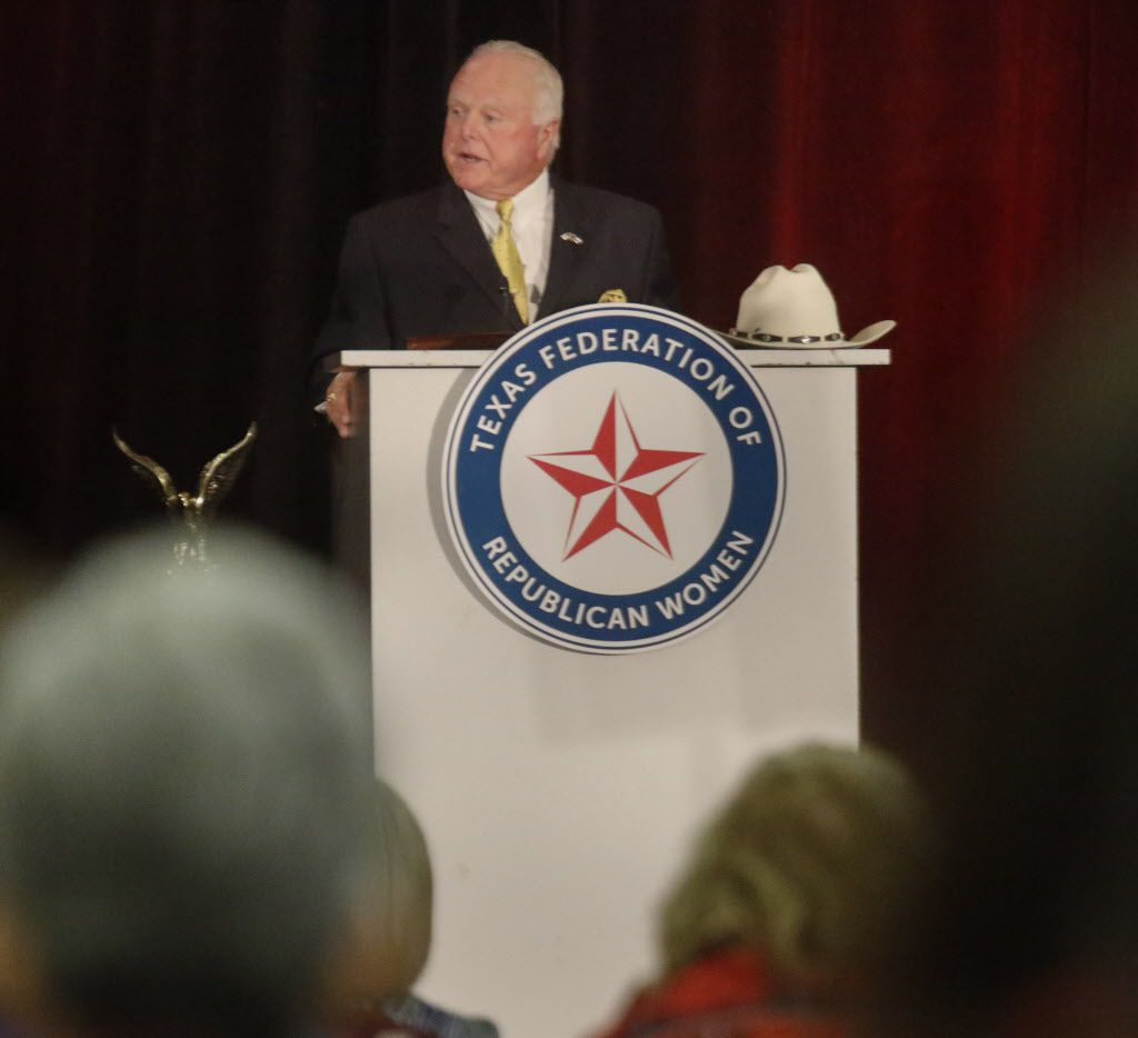 Sid Miller, Texas Agriculture Commissioner, was one of the speakers at the Texas Federation of Republican Women Conference in 2016.