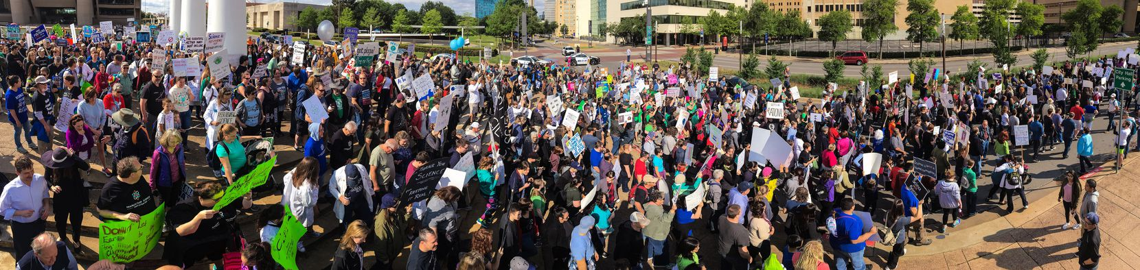 As seen in this panoramic image, the March For Science rally kicked off at Dallas City Hall as supports marched onto Young St., headed to Fair Park's Earth Day celebration, Saturday, April 22, 2017. (Tom Fox/The Dallas Morning News)