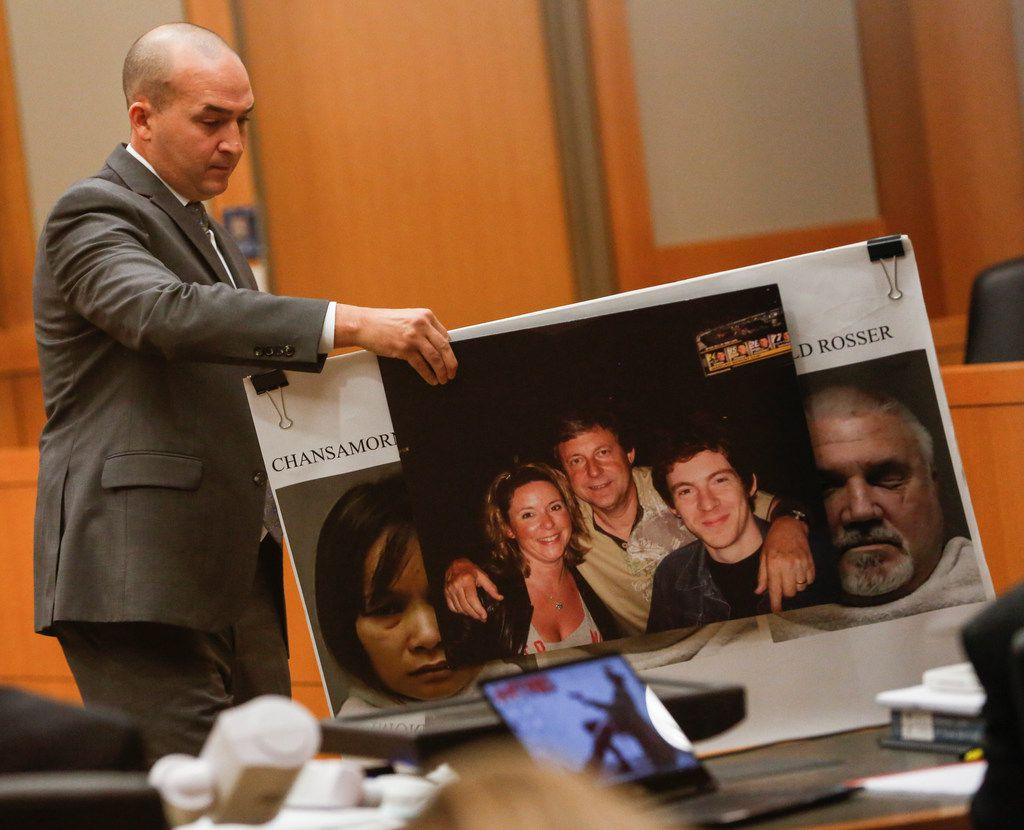 At last month's trial of Stephen Brockway, prosecutor Thomas Ashworth presented a photo of murder victim Richard Moore (center) of McKinney, with  daughter Joanne Comer and son Robert Moore.