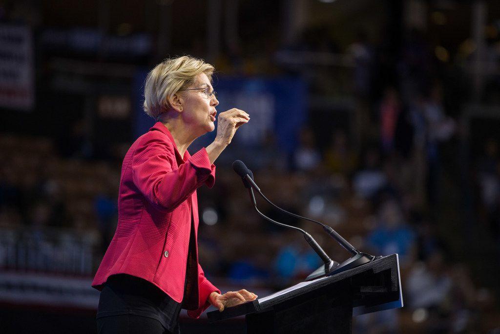 Democratic presidential hopeful Elizabeth Warren on Monday endorsed Jessica Cisneros, the primary challenger of Rep. Henry Cuellar, D-Laredo..   (Photo by Scott Eisen/Getty Images)