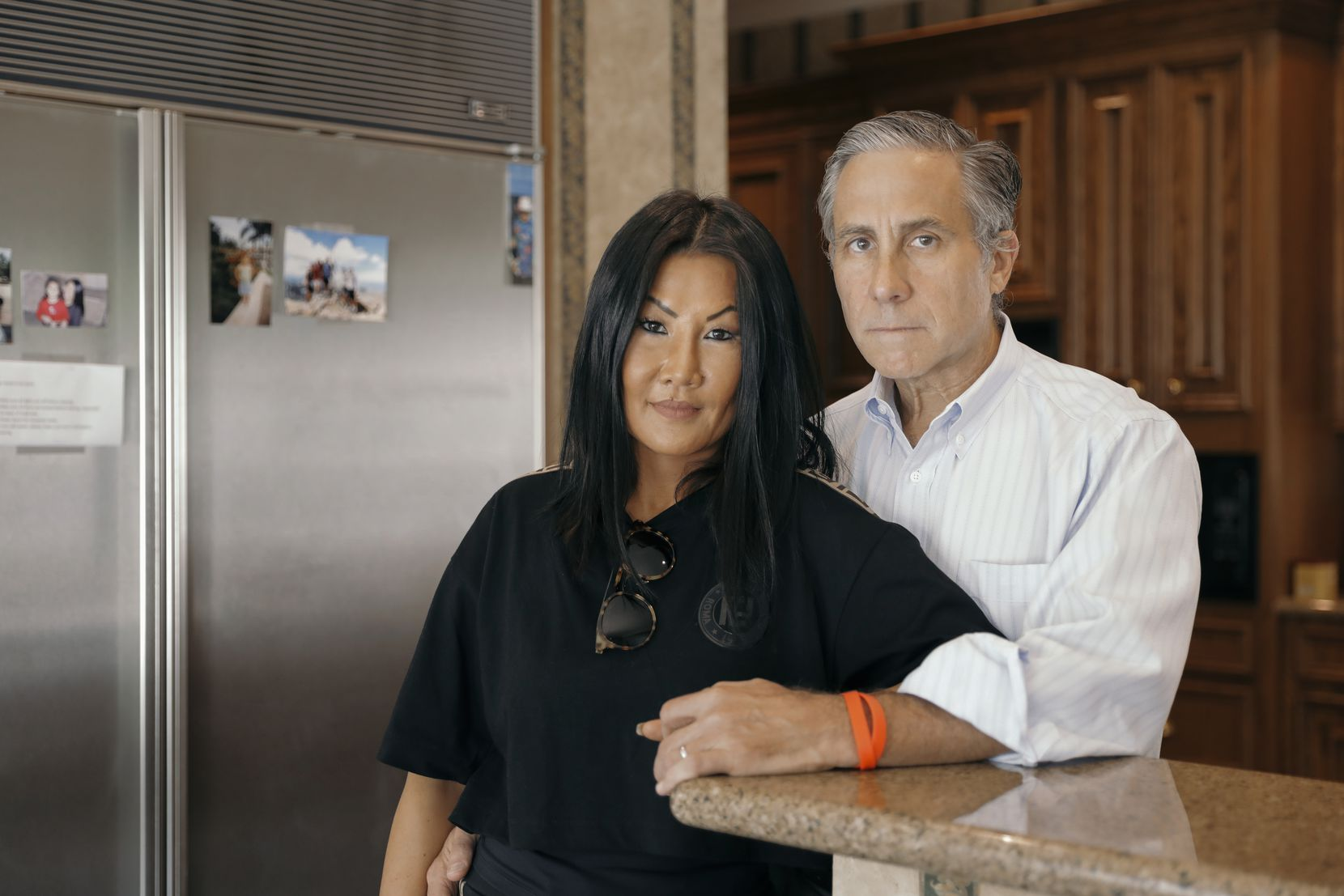 Sylvia Wang and her husband, Shawn Cumberland, at their home in Houston on Oct. 19, 2019. Their son, Nicky Cumberland, a member of the elite Texas Cowboys fraternity, died Oct. 30, 2018, from injuries sustained a month earlier on his way home from the Texas Cowboys' annual retreat.
