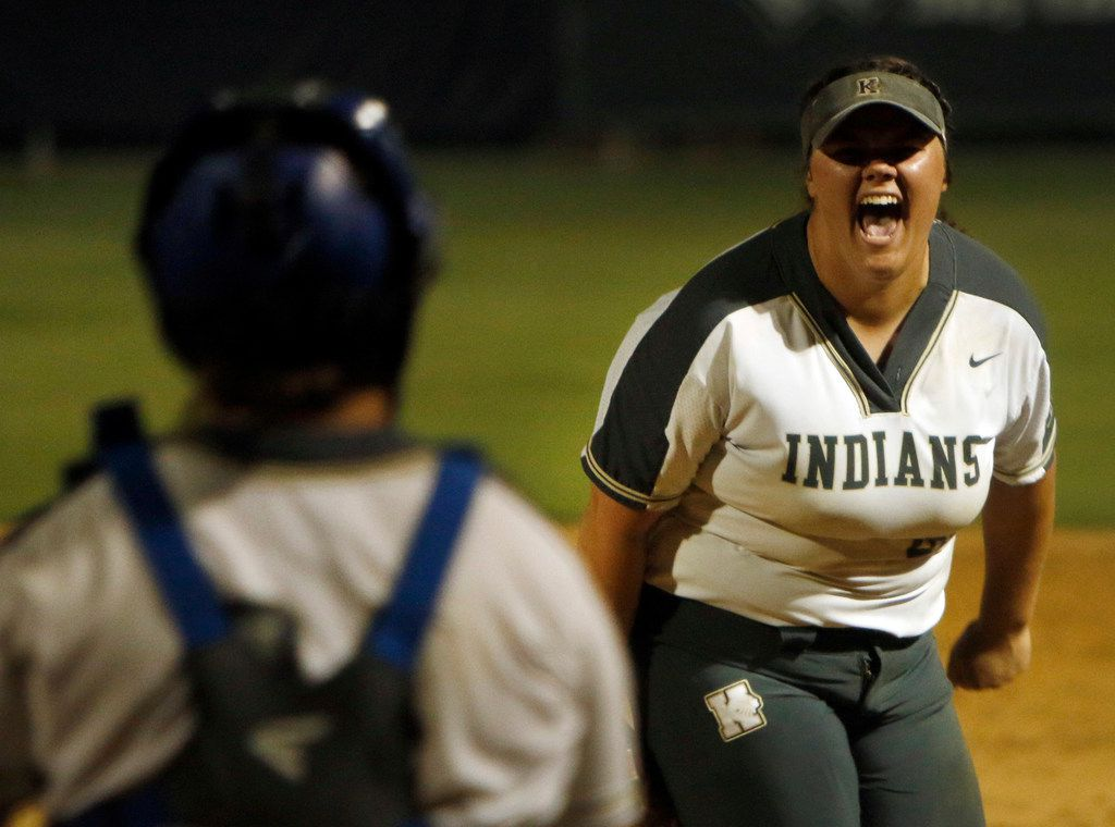 Keller pitcher Dylann Kaderka (22) lets out a yell following the last out of their 3-1 victory over Northeast Eaton. The two teams played Game 1 of a best-of-3 Class 6A Region l softball final series at Flower Mound High School in Flower Mound on May 22, 2019. (Steve Hamm/ Special Contributor)