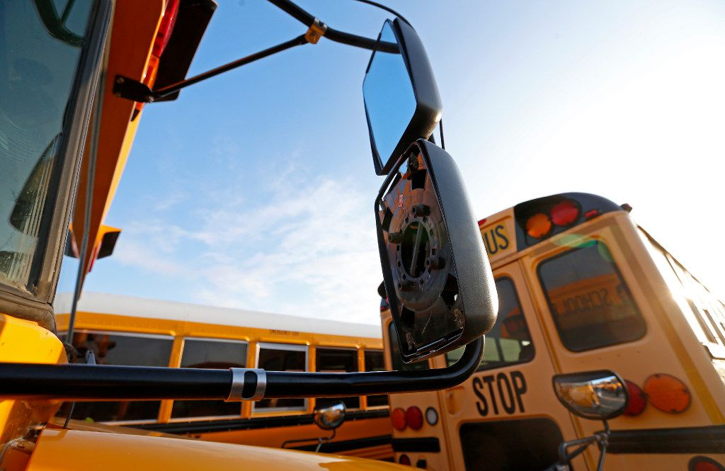 A mirror of a school bus is damaged by last night's hailstorm at the Little Elm ISD Maintenance Department lot in Little Elm, Texas, Monday, March 27, 2017. Last night's hailstorm damaged 35 of the Little Elm ISDÕs 48 buses and caused the two and half hour delay in the morning. (Jae S. Lee/The Dallas Morning News)