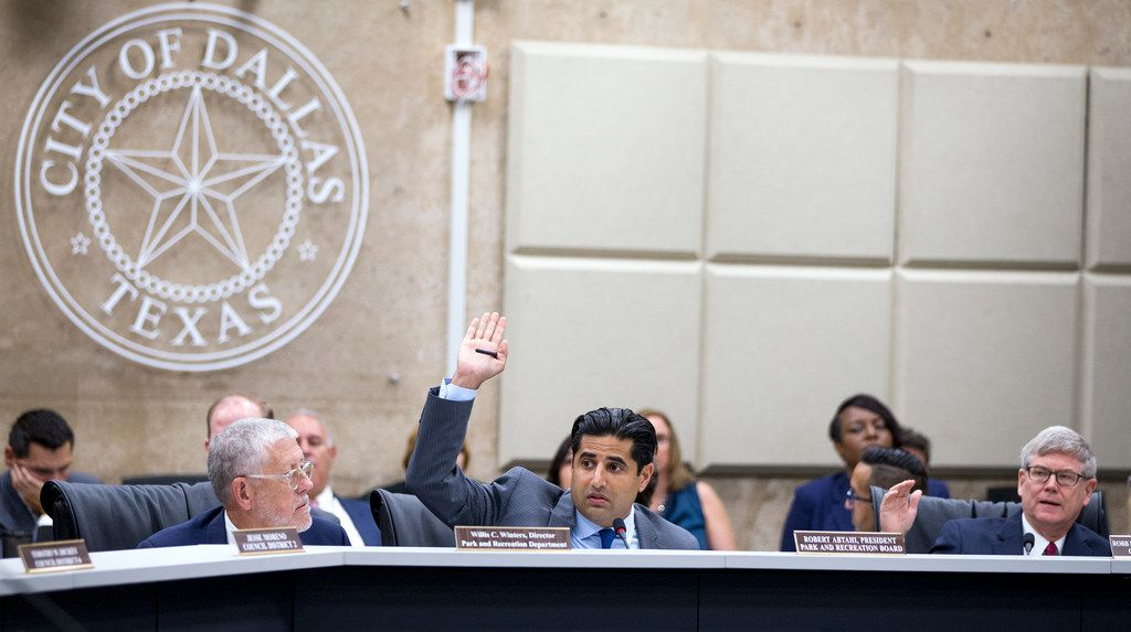 Bobby Abtahi called for a vote during a Park Board meeting at Dallas City Hall.