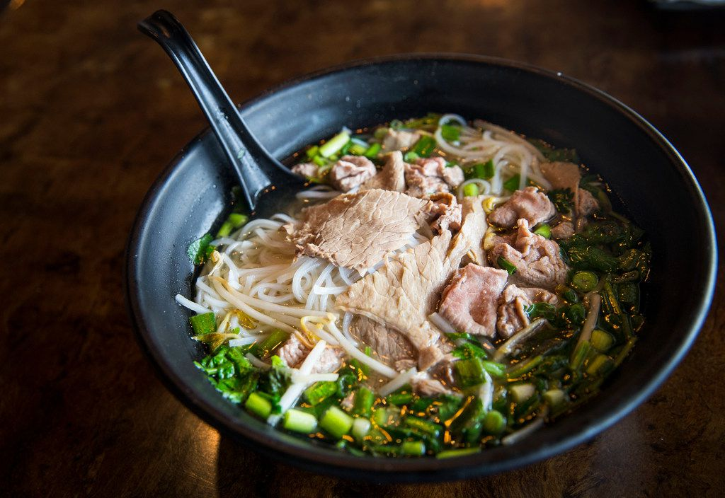 Owner Khanh Nguyen of Dalat Restaurant shows what ingredients you can use to make pho at home.