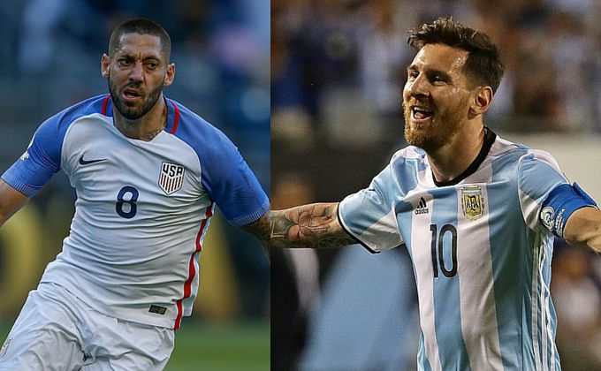 Clint Dempsey y Lionel Messi se enfrentarán este martes en Houston. Fotos GETTY IMAGES.