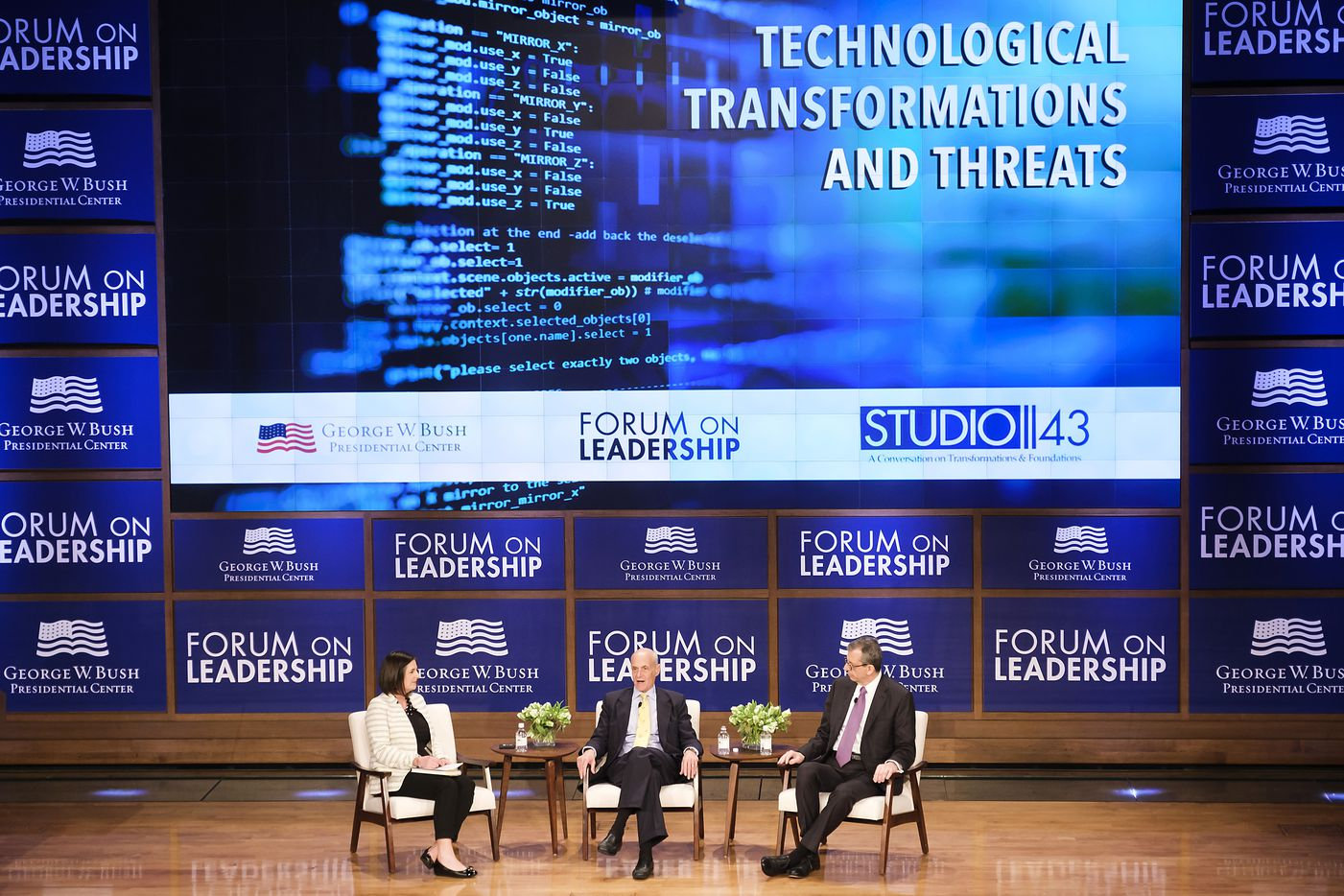 Michael Chertoff, Peter Altabef and moderator Eva Chiang during a discussion titled ÒTechnological Transformations and ThreatsÓ at the Forum on Leadership at the George, W. Bush Presidential Center on Thursday, April 11, 2019, in Dallas. (Smiley N. Pool/The Dallas Morning News)