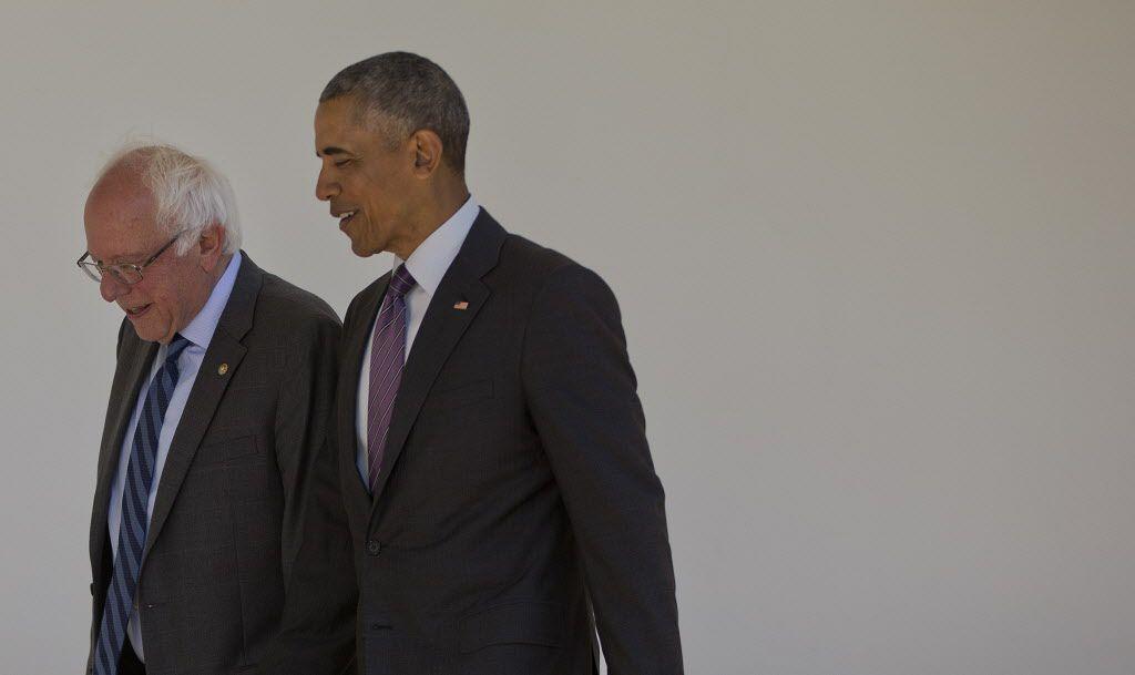Antes de manifestar su apoyo formal a Hillary Clinton, el presidente se reunió con  Bernie Sanders.AP