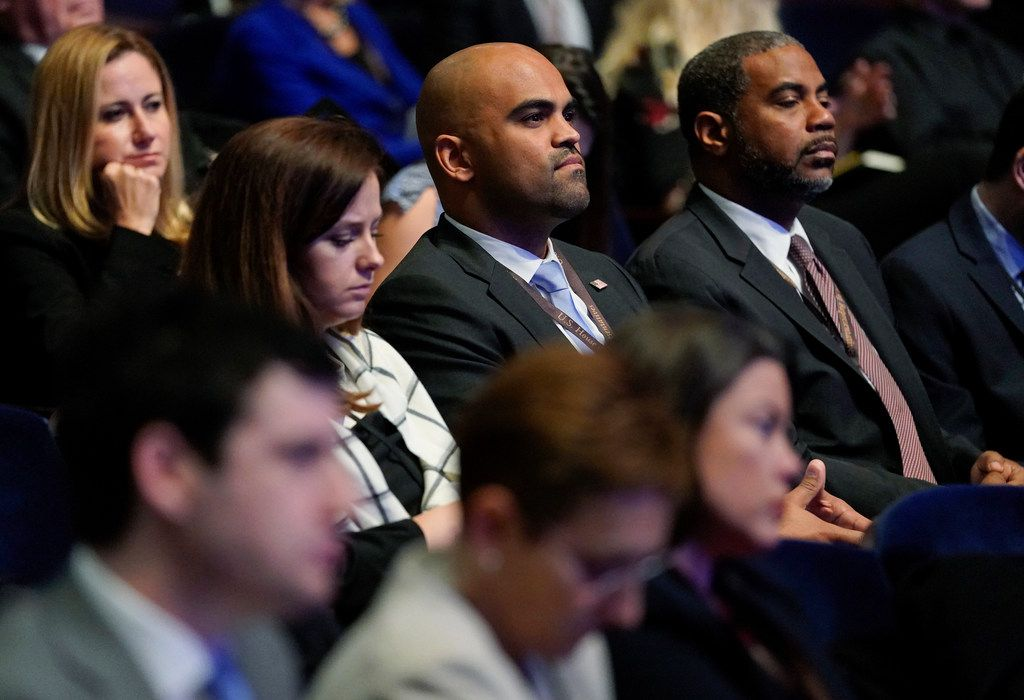 Rep.-elect Colin Allred, D-Texas., center, came away an early winner for selecting his congressional office. He had an extra boost thanks to his lucky rock. (AP Photo/Pablo Martinez Monsivais)