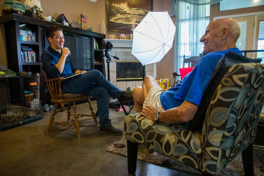 Andy Fancher, 18, interviews WWII U.S. Navy veteran Bob Gagnon, 92, on July 13 in Mansfield, Texas. Fancher has filmed countless hours of interviews with war veterans, including more than 30 WWII veterans.