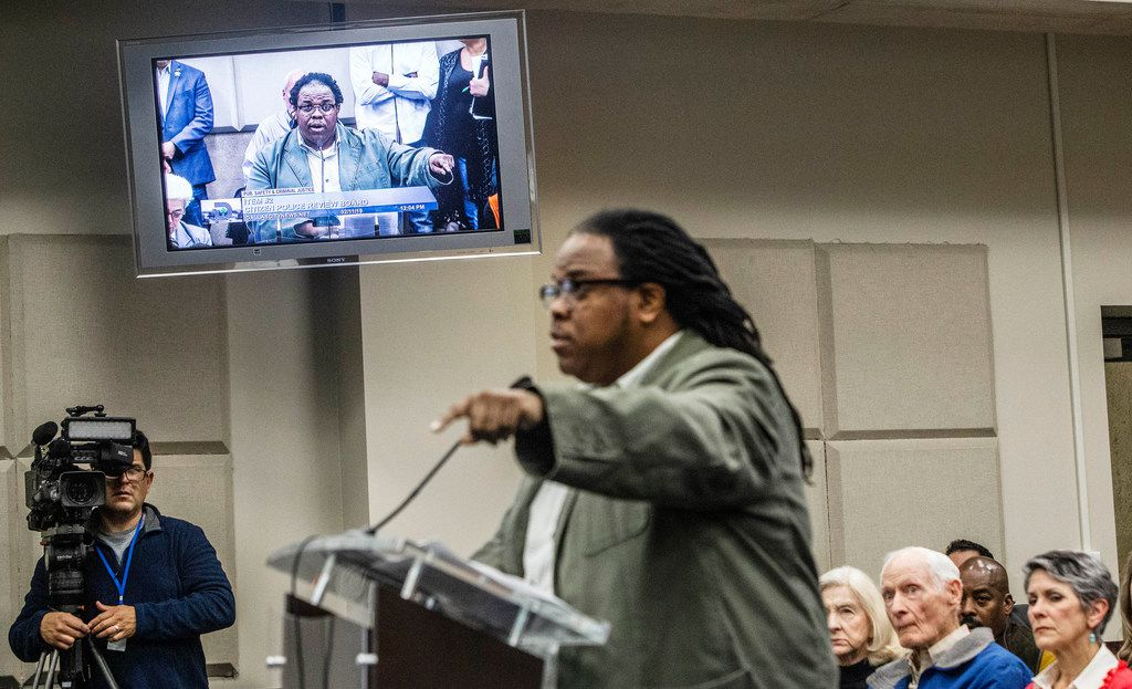 """Walter """"Changa"""" Higgins comments on recommendations for the Citizens Police Review Board  at Dallas City Hall on Monday."""
