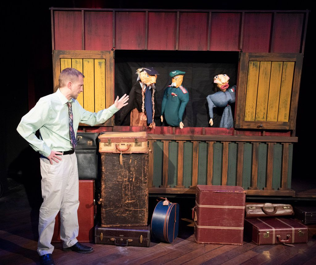 Jeff Swearingen (Mayor) talks to puppets in Pompeii!,  a new musical commissioned and presented by Kitchen Dog Theater at Trinity River Arts Center.