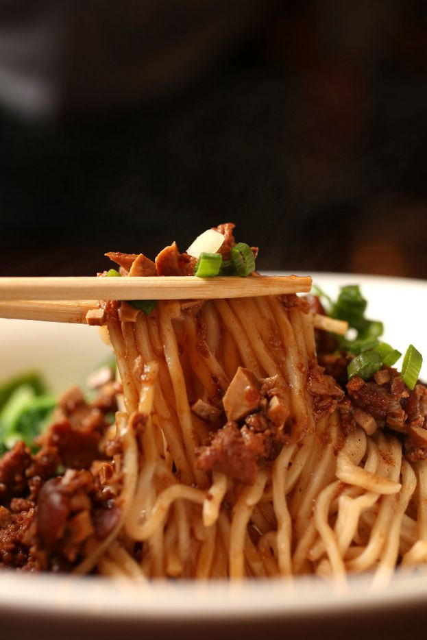 Noodles with minced pork at Wu Wei Din  (Rose Baca/Staff Photographer)
