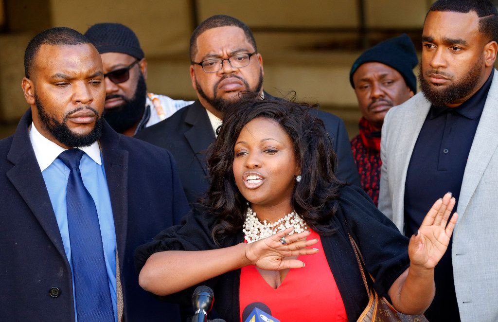 Jasmine Crockett, an attorney for the Craig family, responds to Fort Worth police Chief Joel Fitzgerald's decision to suspend an officer for 10 days. (Tom Fox/Staff Photographer)