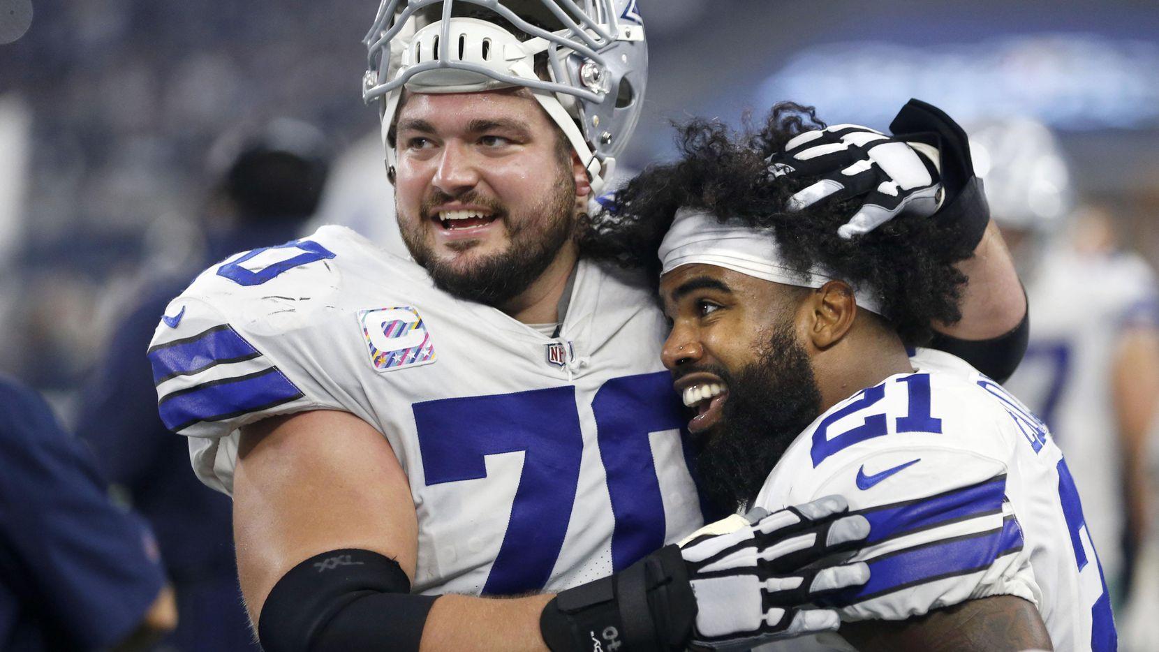 El guardia Zach Martin y el corredor Ezekiel Elliott de los Cowboys de Dallas. (DMN/VERNON BRYANT)