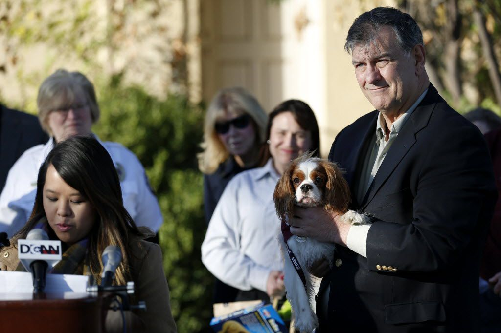 Dallas Mayor Mike Rawlings holds Bentley as Dallas nurse Nina Pham speaks to the media after Pham and Bentley were reunited following the canine finishing a 21-day monitoring period for the Ebola virus at Hensley Field in Grand Prairie on Nov. 1, 2014. Pham was cured of Ebola at the National Institute of Health in Maryland.