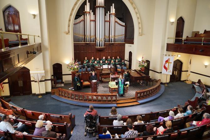 Senior Pastor Anna Hosemann-Butler shares the sermon with the OLUMC congregants Sept. 14.