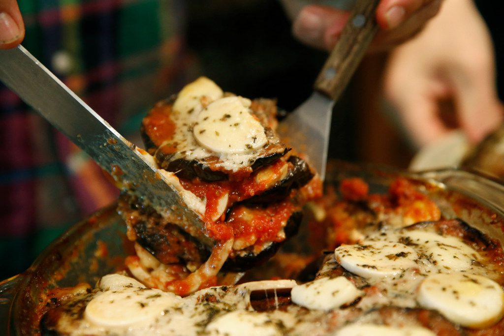 A completed Eggplant Parmigiana