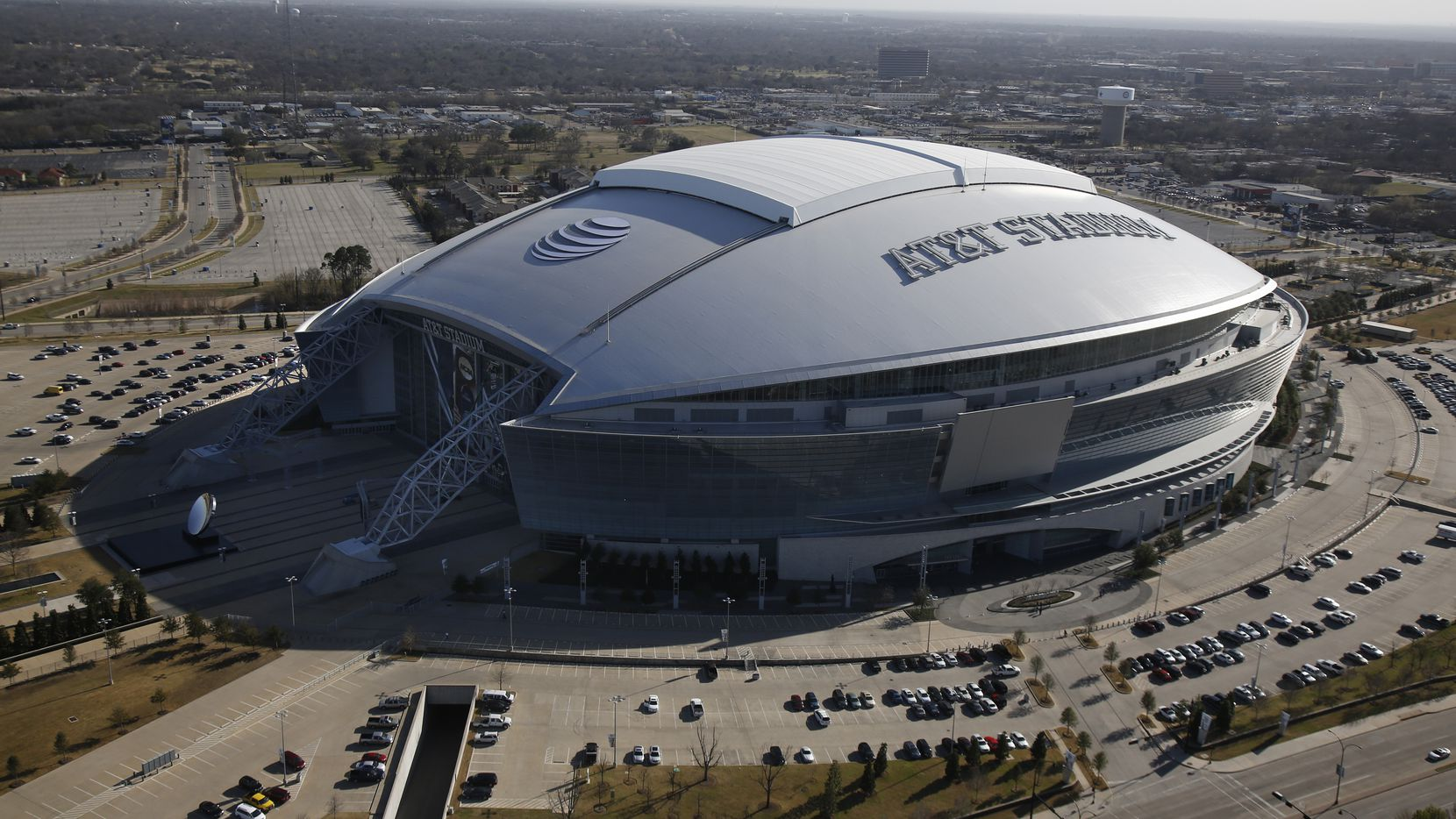 Aerial photo of At&T Stadium, site of the NCAA Final Four basketball tournament in Arlington March 20,  2014.  (Nathan Hunsinger/The Dallas Morning News) -- site of the NCAA Final Four basketball tournament / March Madness  03022015xBIZ