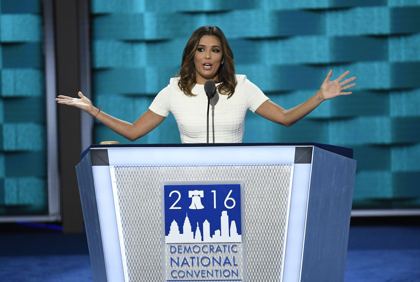 Actress Eva Longoria speaks during the Democratic National Convention.