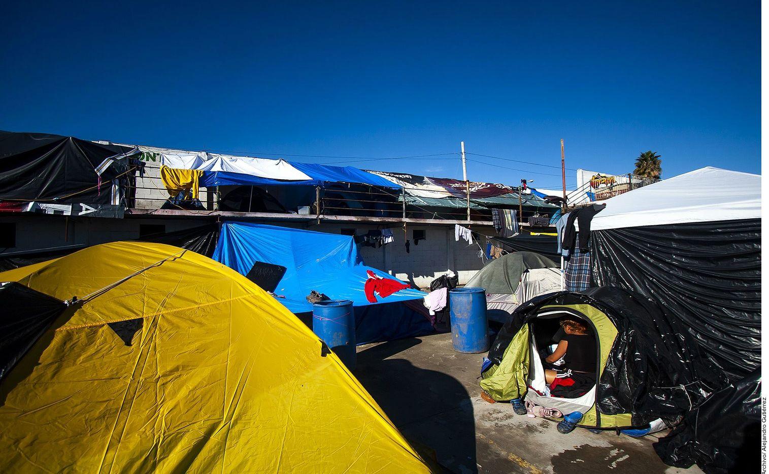 Un albergue temporal de migrantes en Tijuana