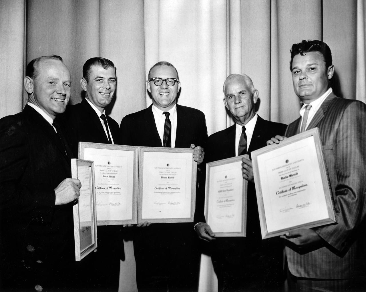 Blackie Sherrod (right), working for the Dallas Times Herald at the time, joined other newspaper honorees at the Southwest Journalism Forum Awards Luncheon in October 1962 at Southern Methodist University. Joining Sherrod were Eugene Patterson (left), Oscar Griffin, Dennis Hoover and Rembert James.