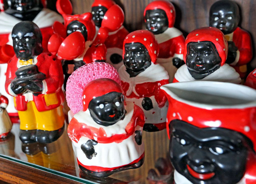 House's collection of African-American memorabilia includes dozes of Mammy figurines.