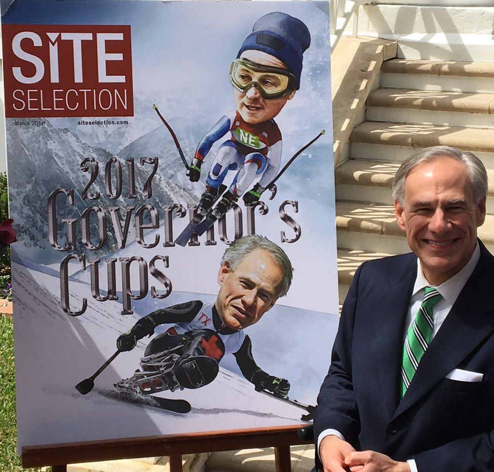 "Texas Gov. Greg Abbott accepted Site Selection Magazine s 2017 Governor's Cup at the Governor's Mansion in Austin on March 8, 2018. Standing beside a blow up of the magazine's cover, Abbott said he had tried paralympic alpine skiing ""multiple times"" in Colorado. The last time he did it was about 10 years ago, he said."