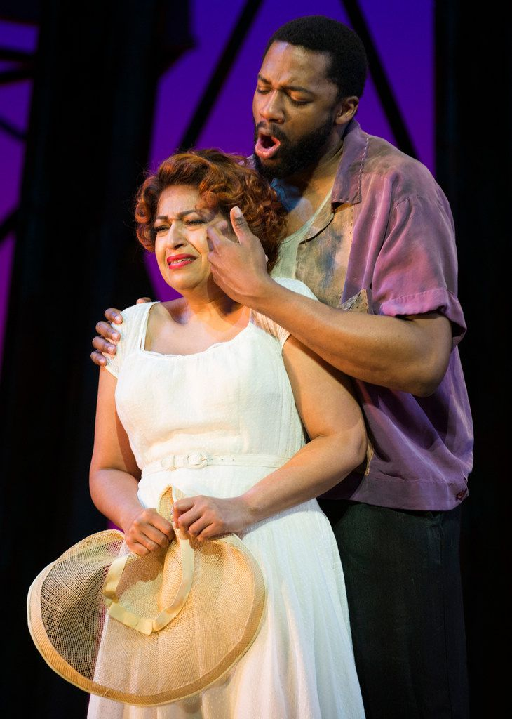 Indira Mahajan, who plays Bess, and Norman Garrett, who plays Crown, perform during a dress rehearsal.