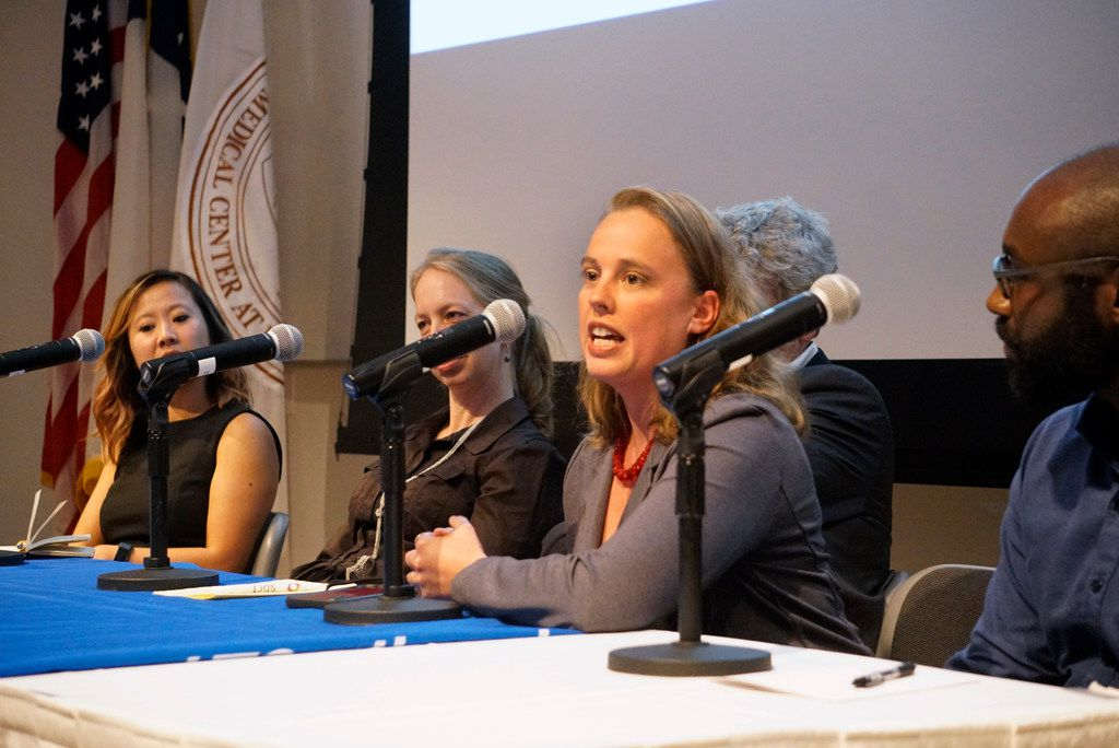 Brandi Cantarel speaks on the Science in the City panel during the Dallas Festival of Books and Ideas at UT Southwestern in Dallas on May 30, 2019.