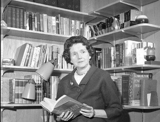 Rachel Carson  holds her book Silent Spring in the library of her Silver  Spring, Md., home in March 1993.