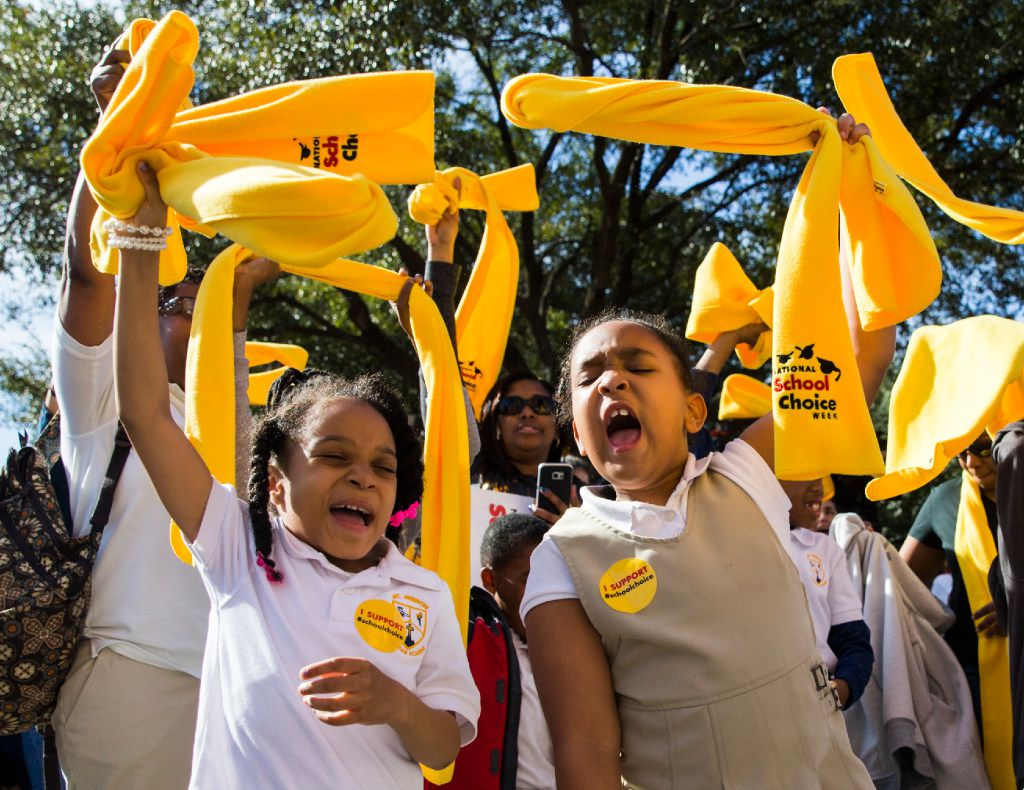 Mount Hebron Christian Academy students Alyssa Timmons, 7, and Mckenley Wafer, 6, of Garland took part in a school choice rally on Tuesday in Austin. (Ashley Landis/Staff Photographer)
