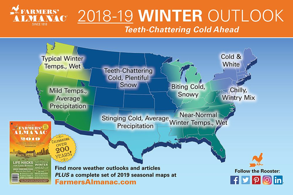 The almanac predicts a harsh winter for most of the country.