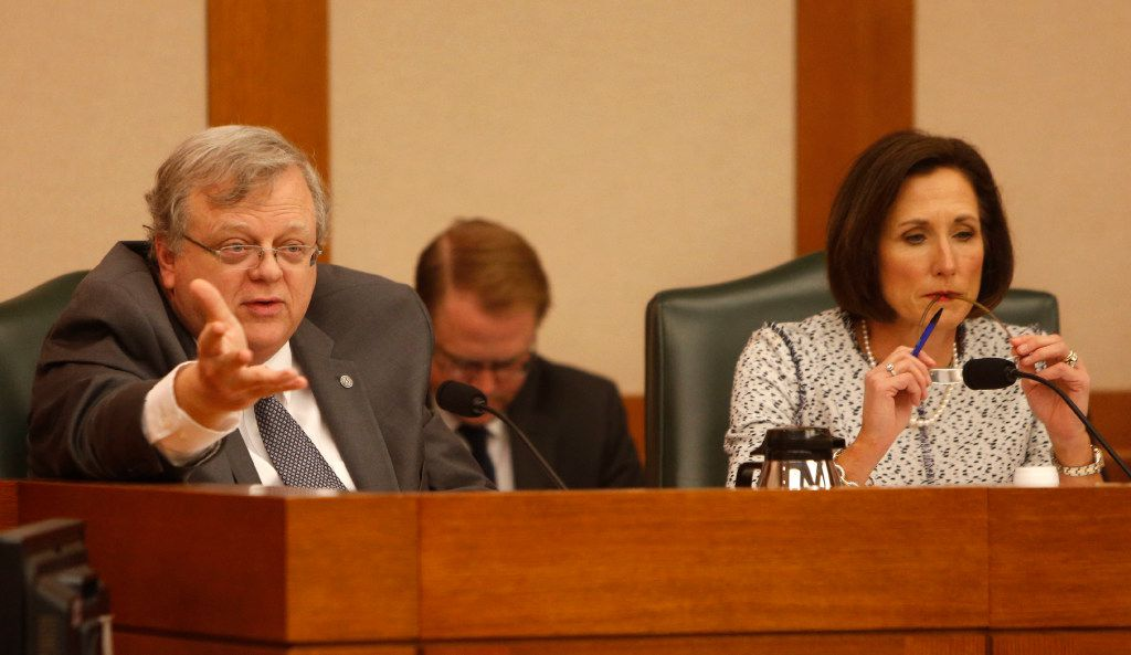Sen. Paul Bettencourt speaks as members of the Senate State Affairs Committee debate and hear public testimony of Senate Bill 6, the transgender bathroom bill, at the Texas State Capitol in Austin on Tuesday, March 7, 2017. The bill would bar transgender people from using the restrooms, locker and changing rooms that correspond to their gender identity in public schools and government buildings. (Rose Baca/The Dallas Morning News)