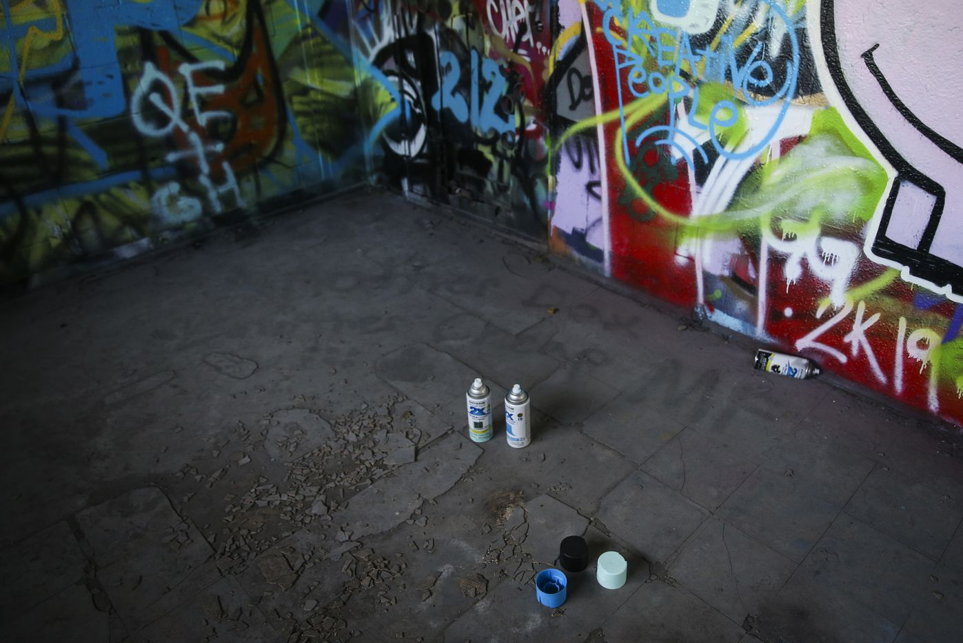 Remnants from graffiti art are seen at Fabrication Yard in West Dallas.