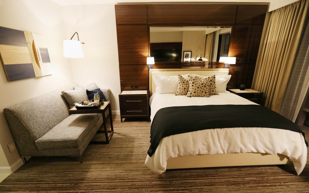 A tour of a mock up of a 'king' room at the Omni Frisco Hotel at The Star seen inside AT&T Stadium in Arlington, Texas Tuesday June 28, 2016. The Omni Frisco Hotel will open by early July 2017 with 300 rooms available. (Andy Jacobsohn/The Dallas Morning News)